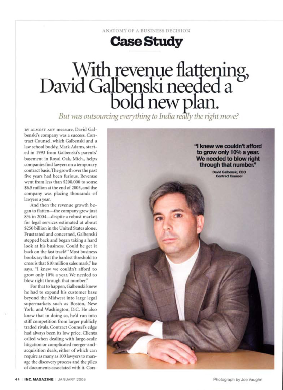 David Galbenski's Mission featured in Inc. Magazine